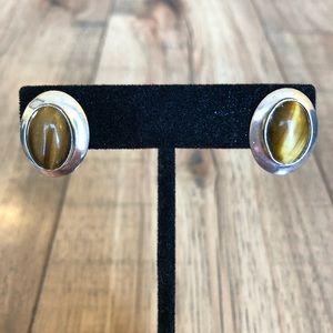 Sterling Silver + Tiger's Eye Oval Post Earrings
